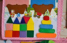 Представляю вам новую книгу. Сшита она для маленькой Есении ко дню ее рождения. Книга размером 20*30см, 6 разворотов, 130 съемных деталей. В ней собраны различные виды застежек: липучки, замки-молнии, крючки, кнопки, прищепки, шнуровка. В игровой форме можно усвоить такие понятия...