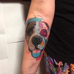 Realism and Modern Pop Art Remixed by Tattoo Artist Dzikson Wildstyle Kunst Tattoos, Pop Art Tattoos, Dog Tattoos, Tattoos For Guys, Inner Forearm Tattoo, Forearm Tattoos, Portraits Pop Art, Dog Portrait Tattoo, True Tattoo