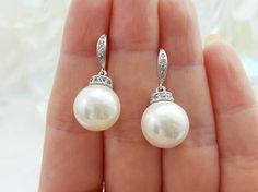 Round Pearl Earrings White Pearl CZ Earrings Shell Pearl