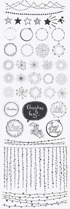 Confetti Brushes for Illustrator by lunalexx on Market - Bullet Journal Creative Market, Sketch Note, Bujo Doodles, Easy Doodles, Christmas Doodles, Diy Christmas, Bullet Journal Inspiration, Journal Ideas, Doodle Inspiration