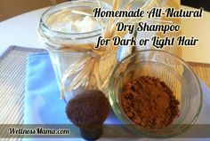 how to make natural dry shampoo for light or dark hair1 DIY Dry Shampoo for Dark or Light Hair (add cocoa and cinnamon for red hair)