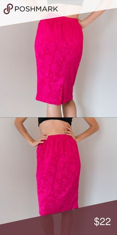 Hot Pink Vintage Secretary Skirt Small S 80s Hot Pink Eighties Floral Vintage Pencil Skirt. Awesome condition! Size Small, S.   #pencil #office #granny #pink #hot #cocktail #knee #length #high #waist #waisted #vintage #eighties #nineties #80s #90s #career #pumps #floral #flowers #waistband #career #secretary #magenta #fuschia #paisley Vintage Skirts Pencil