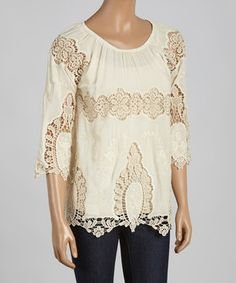 Look at this #zulilyfind! Natural Sheer Crochet Three-Quarter Sleeve Top by Simply Irresistible #zulilyfinds