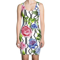 Floral Bodycon Dress With Geometric Details ❤ ReFashion Party Casual Dresses, Fashion Dresses, Refashion, Bodycon Dress, Stylish, Floral, Womens Fashion, Collection, Color