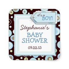 Happy Blue Dots Boy Baby Favor and Envelope Stickers  #babyshower