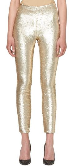 Sequined Slim-Leg Ankle Pants by Carolina Herrera. Carolina Herrera sequined pants. Mid rise. Slim-fit legs. Cropped at ankle. Hidden side zip. Silk/spandex. Made in Italy. #carolinaherrera #pants
