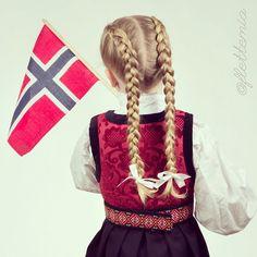 """""""Two Dutch braids on Emma.  To hollandske fletter på Emma. Bånd fra @sostrenegrene Festdrakt fra #ludostore"""" Photo taken by @flettemia on Instagram, pinned via the InstaPin iOS App! http://www.instapinapp.com (05/15/2015)"""