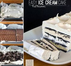 This stunning 3 ingredient NO Bake Easy Ice Cream Sandwich Cake takes only 10 minutes to prepare!