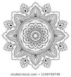 Imagens, fotos stock e vetores similares de Circular pattern in form of mandala for Henna, Mehndi, tattoo, decoration. Decorative ornament in ethnic oriental style. Coloring book page. Mandala Doodle, Mandala Drawing, Mandala Tattoo, Mehndi Tattoo, Henna Mehndi, Mehndi Book, Mehndi Flower, Henna Mandala, Henna Drawings
