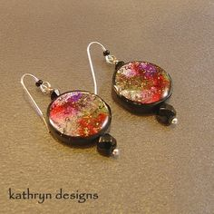 Artsy red, black, purple earrings, unique art jewelry