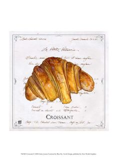 Croissant Poster Print by Ginny Joyner x Watercolor Food, Watercolor Paintings, French Croissant, Mini Croissants, Pastry Art, French Food, French Bakery, Polish Recipes, Food Drawing