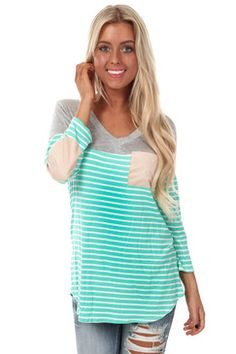 #trendy-Grey and Mint Stripe Print Suede Detail Top