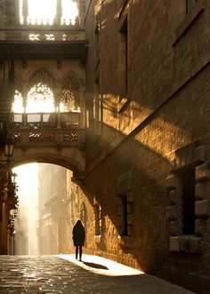 Barcelona, Spain, Gothic Quarter. So cool with the light and shadows.