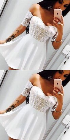 A-Line Sweetheart Short Sleeves Short White Chiffon Homecoming Dress with Lace i., A-Line Sweetheart Short Sleeves Short White Chiffon Homecoming Dress with Lace in 2020 Black Prom Dresses, Homecoming Dresses, Cute Dresses, Short Dresses, Dresses Dresses, Party Gowns, Party Dress, Formal Dresses Under 100, Light Dress