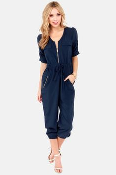 37e1aa3886e When bustin' a move on the dance floor, make sure you're rocking the Pop,  Lock, and Crop It Cropped Navy Blue Jumpsuit! Navy blue jumpsuit with  cropped hem ...