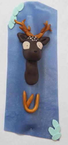 Mezouza fimo cerf deer clay