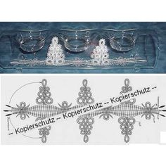 """Pattern """"Trees"""" for U-Boat - The pattern """"Tree"""" is from Czech Republic and well suited as decoration for the glass candle holder U-Boats. It is an original copy of DIN or with stamp, without des Original Copy, Bobbin Lace Patterns, Trees, Boat, Crochet, Bobbin Lacemaking, Bobbin Lace, Dinghy, Tree Structure"""