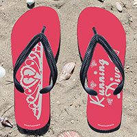 Running Diva on Pink Flip Flops - Kick back after a run with these great flip flops! Fun and functional flip flops for all runners.