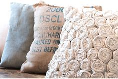 How to make a beautifully textured pillow with a simple hardware store drop cloth. An easy DIY project that you can hand sew. A perfect home decor accent for your farmhouse style bedroom. Sewing Pillows, Diy Pillows, How To Make Pillows, Throw Pillows, Easy Diy Projects, Sewing Projects, Sewing Crafts, Craft Projects, Diy Crafts