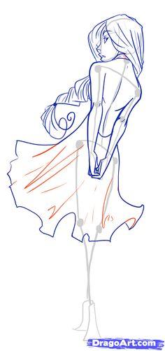 how to draw female figures, draw female bodies step 18