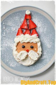 Santa pancakes for North Pole breakfast Santa Pancakes, Christmas Pancakes, Christmas Snacks, Christmas Brunch, Christmas Breakfast, Christmas Morning, Christmas Goodies, Christmas Baking, Holiday Treats