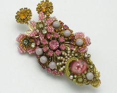 STANLEY HAGLER Pink Rhinestone Pearl Millefiori Brooch Pin Rhinestone Gilt    eBay