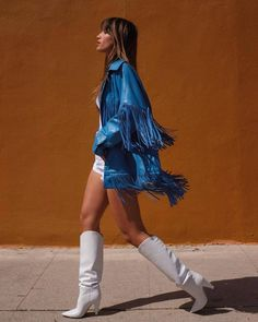 Rocky Barnes in Marc Fisher boots England Fashion, Fringe Jacket, White Boots, Sexy Boots, Ootd, Fashion Outfits, Womens Fashion, Stage Outfits, Dress To Impress