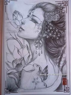 美女与莲花纹身手稿 Japanese Drawings, Japanese Tattoo Designs, Henna Tattoo Designs, Japanese Art, Tatoo Geisha, Geisha Art, Chest Tattoo Stencils, Kokeshi Tattoo, Art Sketches