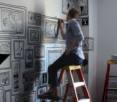 Hand Sketched Walls - this would be super fun & graphic in a kids' room.