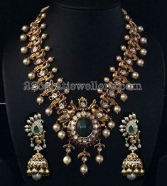 Peacock Necklace with Pearls - Jewellery Designs