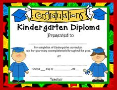 I hope you enjoy these free diploma for Preschool, Kindergarten, First Grade and Moving Up. If you would love to have them personalized for each child with your school name, child's name, etc. consider purchasing our editable diplomas which include many more design options.