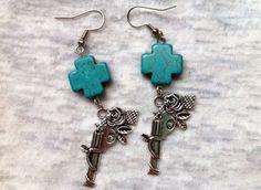 Wild West Fancy Guns Rose and Turquoise Cross Earrings by Hankat, $14.00