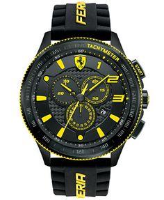 Scuderia Ferrari Men's Chronograph Scuderia Black Silicone Strap Watch 48mm 830139 | macys.com