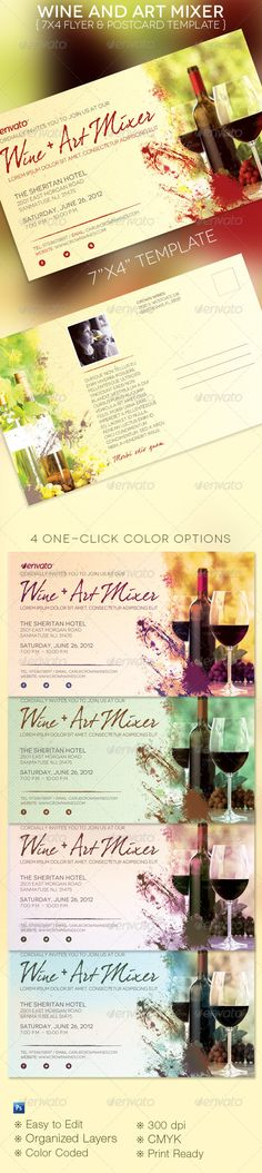 The Wine and Art Mixer Flyer and Postcard Template is geared towards art shows, wine tasting and wine mixer events. It'/s a 4×7 modern flyer and postcard. This size media is perfect for mailing in a regular domestic envelope or by itself. Make it part of your graphic design arsenal. In this package you'll find 1 Photoshop files with 4 One-Click color options. A great value. All layers in the files are arranged, color coded and simple to edit. Sold exclusively on graphicriver.net $6.00