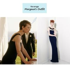 "December 17, 2013 @ 8:49 pm Karine Vanasse as Margaux LeMarchal in Revenge - ""Exodus"" (Ep. 310).  Margaux's Dress:Kathy Hilton Beaded Gown $495 here 