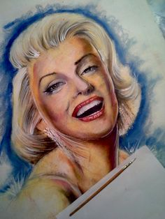 Marilyn-monroe-stage-2-painting by skytteole  | This image first pinned to Marilyn Monroe Art board, here: http://pinterest.com/fairbanksgrafix/marilyn-monroe-art/ || #Art #MarilynMonroe