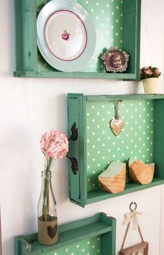 We love this quirky upcycling idea! Take some old drawers, given them a lick of paint, cover the bottoms in d-c-fix®️️ sticky back plastic and use them as shelves! A completely individual look for your home that doesn't cost the earth but will be the envy of all your friends. http://www.amazon.co.uk/s/ref=nb_sb_noss?url=me%3DAI8JZZJY5E2W8&field-keywords=346-0648