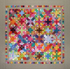 Japanese 'X' and '+' quilt by Carol Muse Skinner: Postcards from Panama. Made with Kaffe Fassett Fabrics..