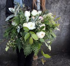 Garden Roses, Peonies, Greens, Ferns, Lambs Ear, Eucalyptus, White and green Bridal bouquet. Draping bouquet. Wild, foraged bouquet. Floral Design, Flowers Wedding flowers www.forestandfieldcreative.com