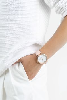 Berg + Betts Blush and Rose Gold Round Watch on Garmentory Leather Scraps, Recycled Fashion, Fashion Games, Pink Leather, Stainless Steel Case, Watch Bands, Quartz, Blush, Rose Gold