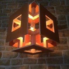 Large Abstract Wood Hanging Cube Square Ceiling Light Unusual Minimalist Artistic Wooden