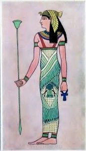 ANCIENT EGYPTIAN COSTUME PLATES Plate I. Ancient Egyptian Goddess: dates 700 b.c., is an exact copy of an Egyptian drawing.