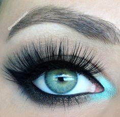 Pop of turquoise coupled with these fine #falseeyelashes looks stunning! – Beauty Works London