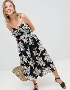 ASOS DESIGN Cut Out Midi Sundress In Dark Floral Print With Bow
