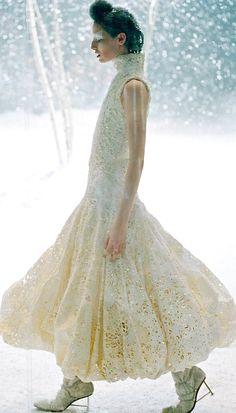 Modern fairytale/karen cox. Fairy tale fashion fantasy in white. Snow / Ice Queen.   Alexander McQueen