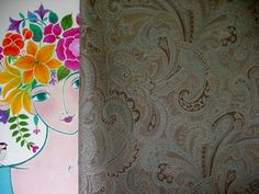 """Priscilla's Upholstery Fabric -  With """"May Muse"""" Painting By  Mary Maki Rae"""