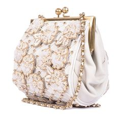 Ruche &Amp; Hues Floral Kiss Minaudiere Ivory (1,185 PEN) ❤ liked on Polyvore featuring bags, handbags, clutches, white, man sling bag, white handbags, white beaded purse, floral purse and beaded clutches