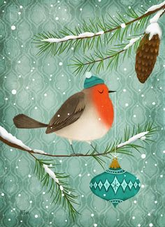 A new stocking cap... ~ illustrated by Marie-Eve Tremblay <> (Christmas card, bird, feathered friend) http://fuidelfuiillustration.blogspot.com/2012/12/joyeux-noel-merry-christmas.html
