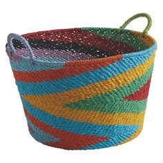 Inspired by traditional African tribal designs, the Birkin multi-coloured woven paper basket adds strong visual interest and texture to a room. The basket is hand woven and exclusive to Habitat Christmas Gifts For The Home, Best Christmas Presents, Christmas Fun, Basket Weaving, Hand Weaving, Colored Weave, Uk Homes, Paper Basket, Colored Paper
