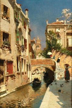 Title: A Woman Carrying Water beside a Venetian Canal, undated Artist: Rubens Santoro Medium: Canvas Art Print - Giclee Some Beautiful Pictures, Beautiful Places, Venice Painting, Rome, Paint Photography, Venice Travel, Fantasy Places, Naples, European Paintings